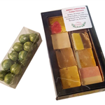 CHRISTMAS 8 PIECE FUDGE GIFT BOX WITH FREE TUBE OF CHOCOLATE BALLS