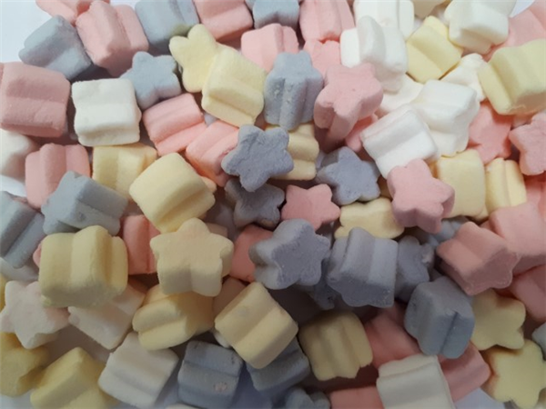 mini multi colour star shape mallows