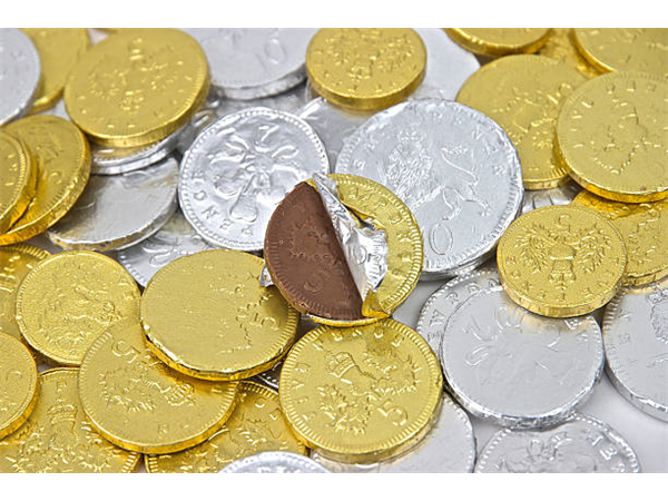 gold & silver chocolate coins