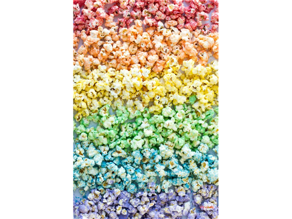 assorted colours popcorn with a hint of fruit flavours