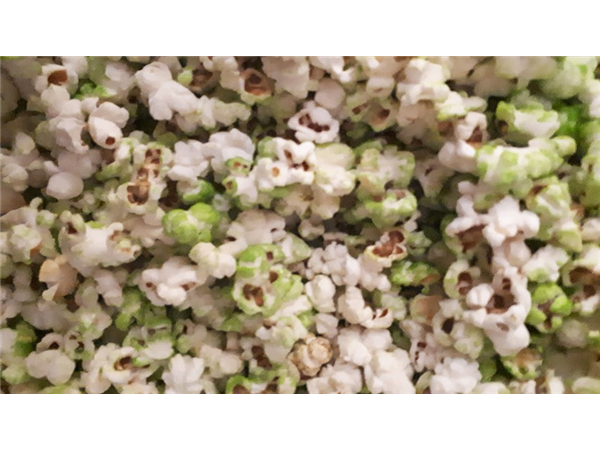 green colour popcorn with a hint of apple flavour