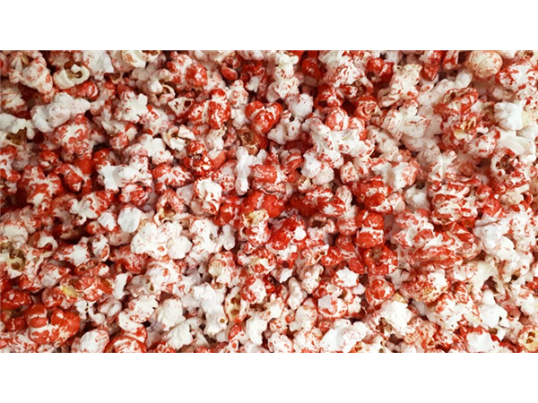 red colour popcorn with a hint of cherry flavour