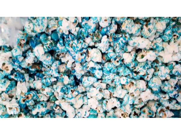 blue colour popcorn with a hint of blueberry flavour
