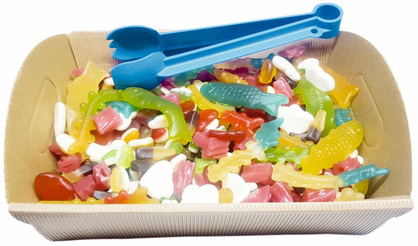 GUMMY & JELLIES MIX HAMPER TRAY WITH FREE SERVING TONGS (2 varieties to choose from)