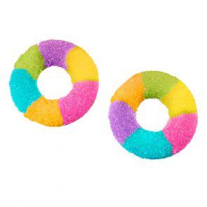 bright multi coloured fizzy rings